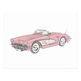 1958 Chevy Corvette Postcard