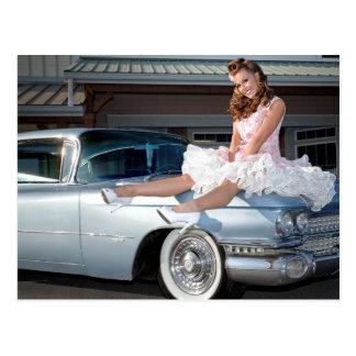 1959 Caddy Cadillac Princess Pin Up Car Girl Postcard