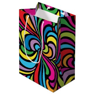 1960s Psychedelic Abstract Swirl Pattern Medium Gift Bag