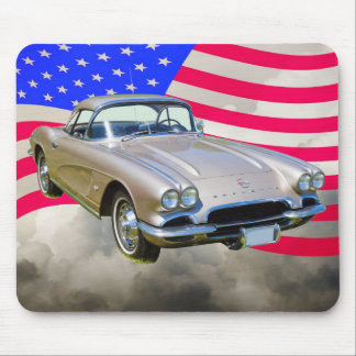 1962 Chevrolet Corvette And American Flag Mouse Pad