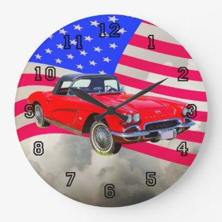 1962 Chevrolet Corvette With United States Flag Large Clock