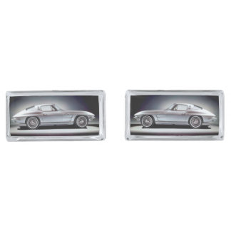 1963 Corvette Sing Ray Silver Finish Cuff Links