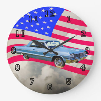 1964 Chevrolet Impala Car And American Flag Large Clock