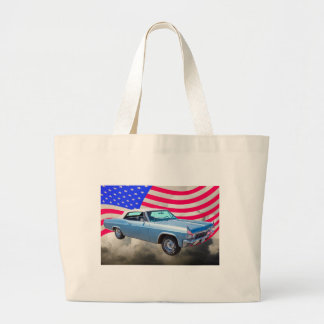 1965 Chevy Impala 327 With American Flag Large Tote Bag