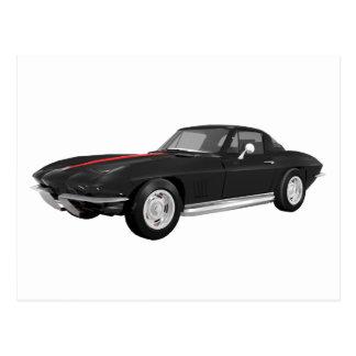 1967 Corvette Sports Car: Black Finish: Postcard