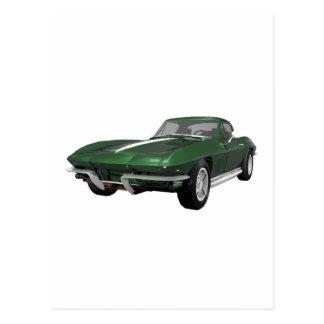 1967 Corvette Sports Car: Green Finish: Postcard