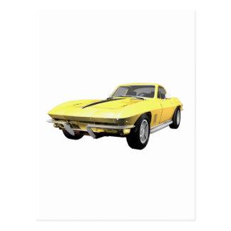 1967 Corvette Sports Car: Yellow Finish Postcard