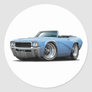 1968 Buick GS Lt Blue Convertible Classic Round Sticker