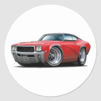 1968 Buick GS Red-Black Top Car Classic Round Sticker