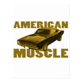 1968 charger golden american muscle postcard