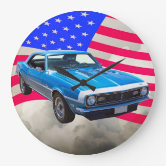 1968 Chevrolet Camaro And American Flag Large Clock