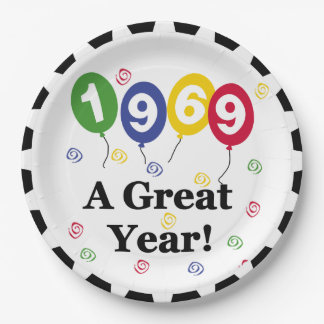 1969 A Great Year Birthday Paper Plates