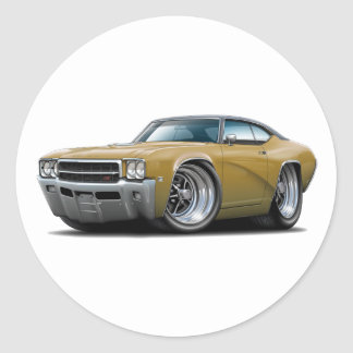 1969 Buick GS Gold-Black Top Car Classic Round Sticker