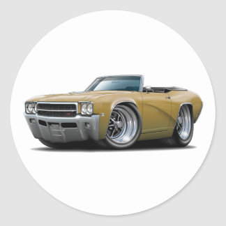 1969 Buick GS Gold Convertible Classic Round Sticker