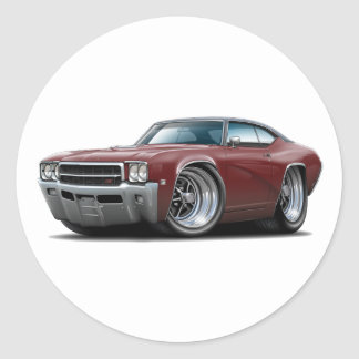 1969 Buick GS Maroon-Black Top Car Classic Round Sticker