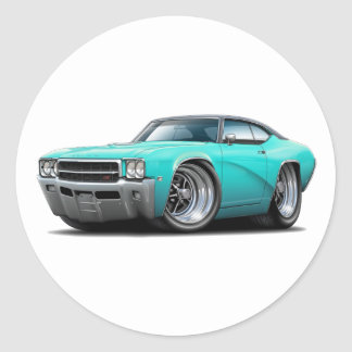 1969 Buick GS Turquoise-Black Top Car Classic Round Sticker