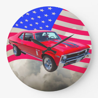 1969 Chevrolet Nova 427 With American Flag Large Clock