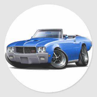 1970-72 Buick GS Blue Convertible Classic Round Sticker