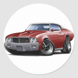 1970-72 Buick GS Maroon White Top Car Classic Round Sticker