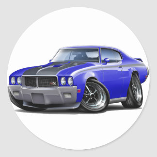1970 Buick GSX Blue Car Classic Round Sticker