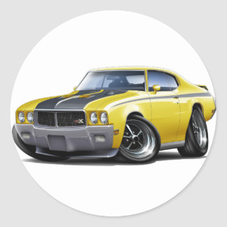 1970 Buick GSX Yellow Car Classic Round Sticker