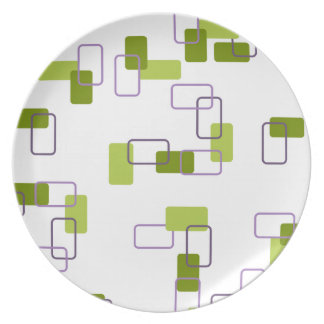 1970's Inspired Retro Geometric Lime Pattern Party Plates