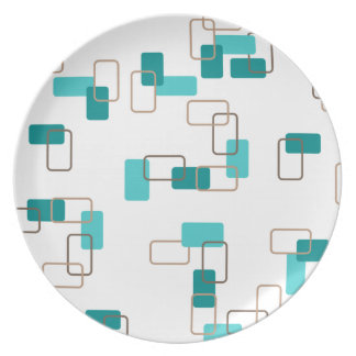1970's Inspired Retro Geometric Teal Pattern Party Plates