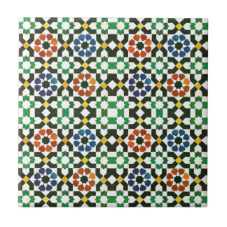 1970s Moroccan Color Pattern Small Square Tile