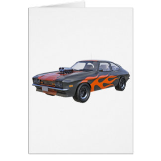 1970's Muscle Car with Orange Flame and Black Card