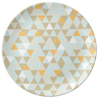 1970s Retro Abstract Triangle Porcelain Plates