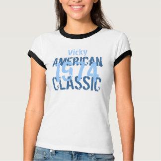 1974 Birthday Year American Classic Blue White v2 T-Shirt