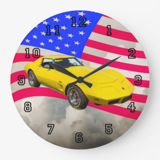 1975 Corvette Stingray With American Flag Large Clock