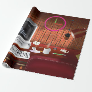 1980s Classic Office with Computer Wrapping Paper