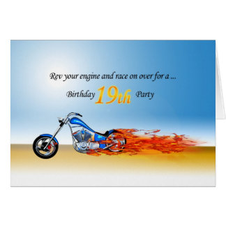 19th Birthday Flaming Motorcycle Party Invitation