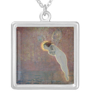 19th century painting of angel silver plated necklace