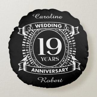 19TH wedding anniversary black and white Round Cushion