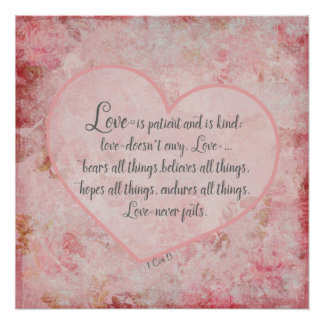 1 Cor 13 - Love is Patient Love is Kind Poster