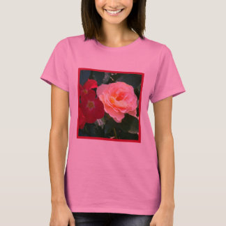 1 Coral Red Pink Roses T-Shirt
