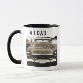 # 1 Dad, vintage 1955 Chevy in black and white Mug