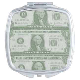 1 Dollar Bill Square Compact Mirror