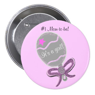 #1 Mom-to-be It's a Girl Baby Shower Pink Button