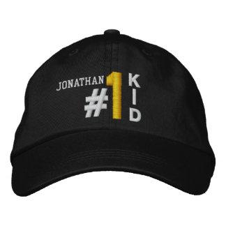 #1 Number One KID BLACK Hat V01 Embroidered Baseball Caps