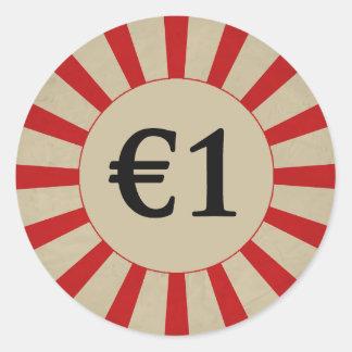 €1 (Pound) Round Glossy Price Tag