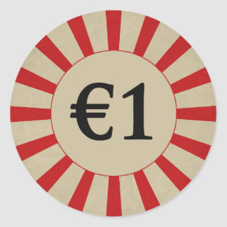 €1 (Pound) Round Glossy Price Tag Round Sticker