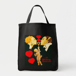 1 st wedding anniversary,just married,newly wed... grocery tote bag