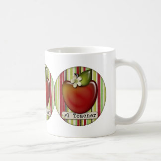 #1 teacher apple basic white mug