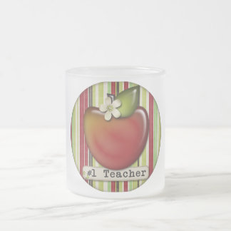 #1 teacher apple frosted glass mug