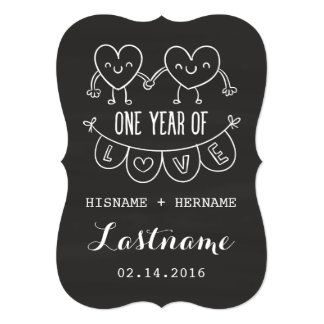 1st Anniversary Gift Chalk Hearts Invitations