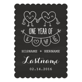 1st Anniversary Gift Chalk Hearts V2 Invitations
