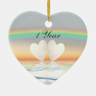 1st Anniversary Paper Hearts Christmas Ornament